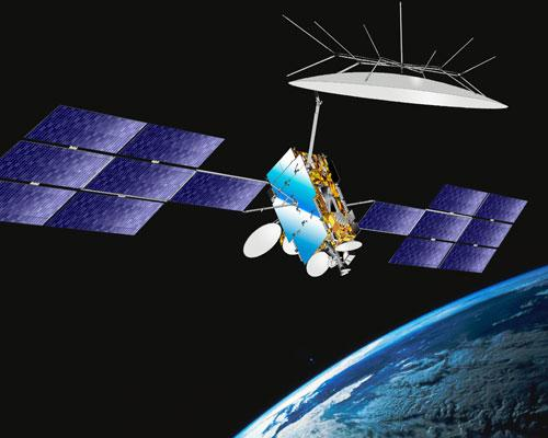 Source : Représentation du satellite W2A, Thales Alenia Space, Le satellite fut lancé le 3 avril 2009, Courtesy ILS International Launch Services.