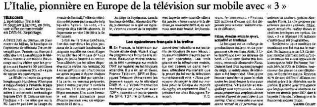 L'Italie, pionnière en Europe de la télévision mobile avec Tre