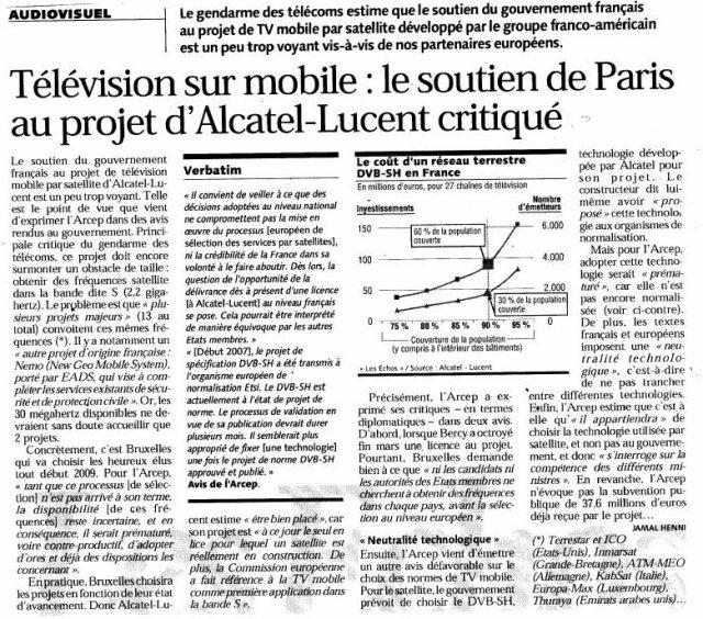 Télévision sur mobile : Le soutien de Paris au projet d'Alcatel-Lucent critiqué