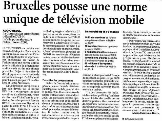 Bruxelles pousse une norme unique de télévision mobile