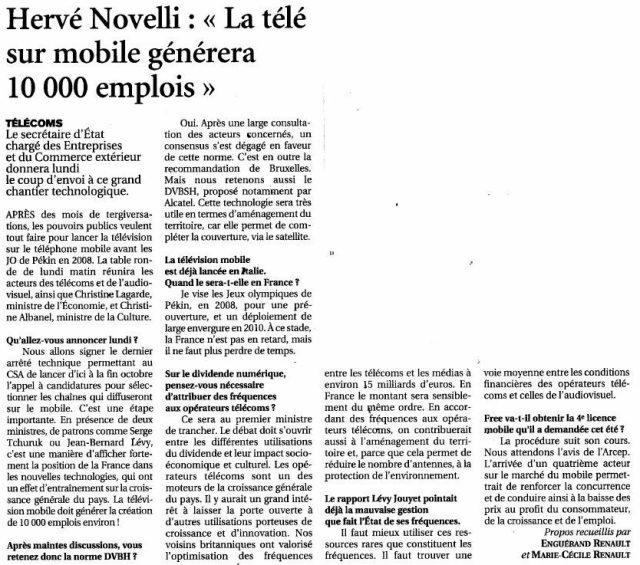 Hervé Novelli : La télé sur mobile générera 10 000 emplois