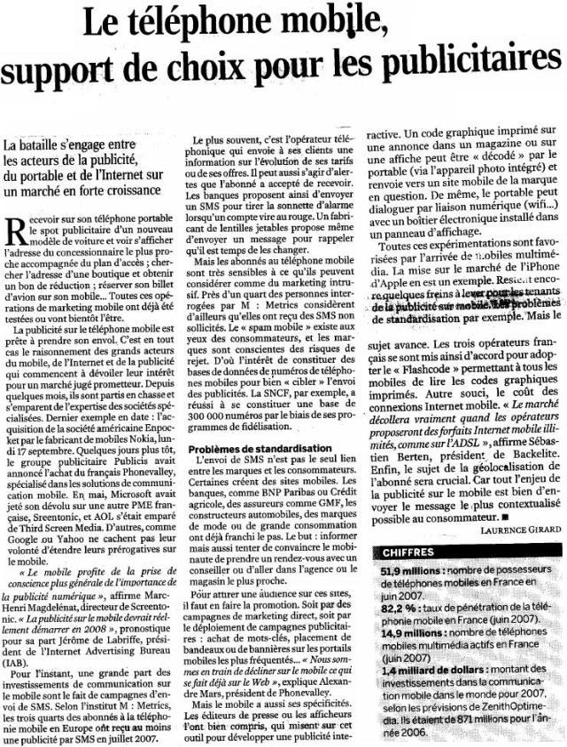 Source : Article « Le téléphone mobile, support de choix pour les publicitaires », extrait du quotidien Le Monde, 25 septembre 2007.