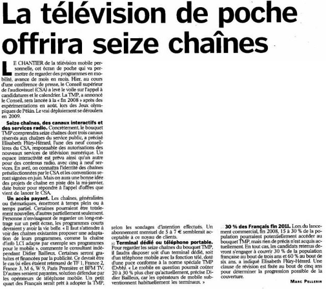 La télévision de poche offrira seize chaînes