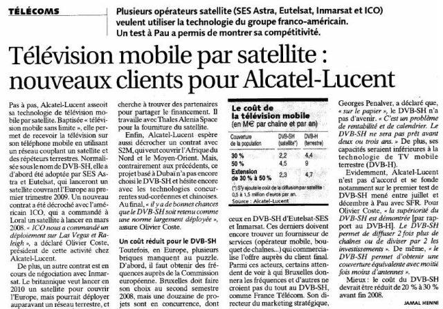 Télévision mobile par satellite : Nouveaux clients pour Alcatel-Lucent