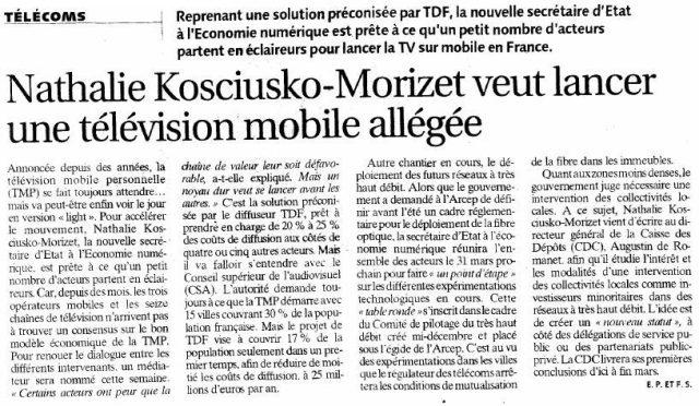 Nathalie Kosciusko-Morizet veut lancer une télévision mobile allégée
