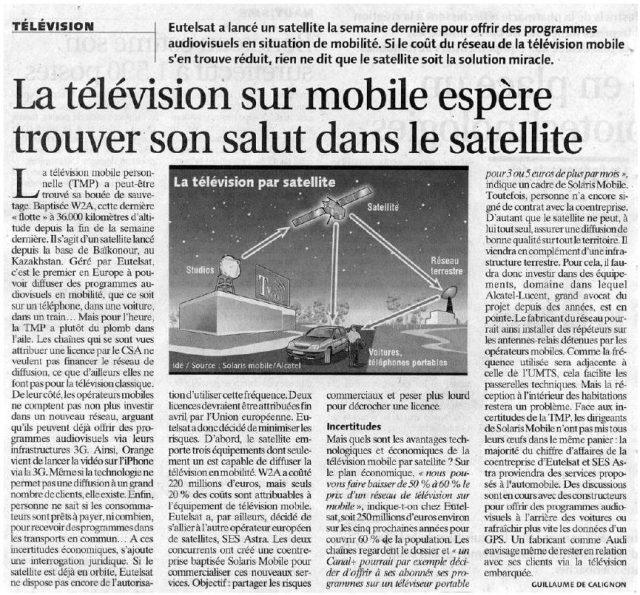 La télévision sur mobile espère trouver son salut dans le satellite