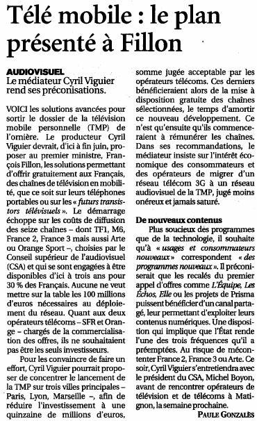 Source : Article « Télé mobile : le plan présenté à Fillon », extrait du quotidien Le Figaro, 7 mai 2009.