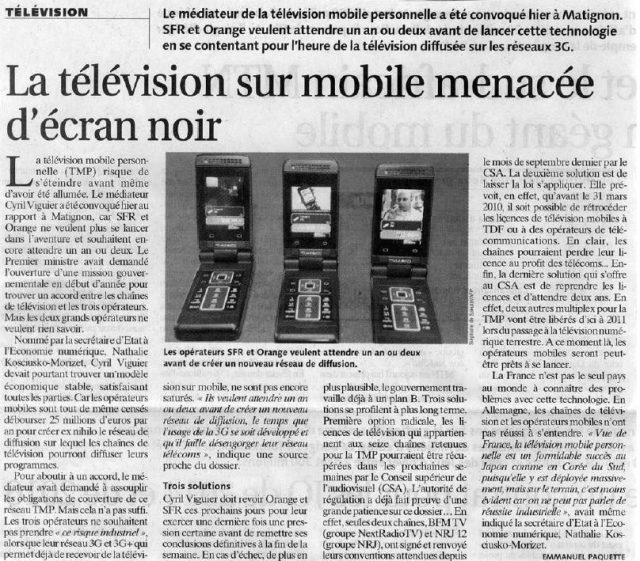 La télévision sur mobile menacée d'écran noir