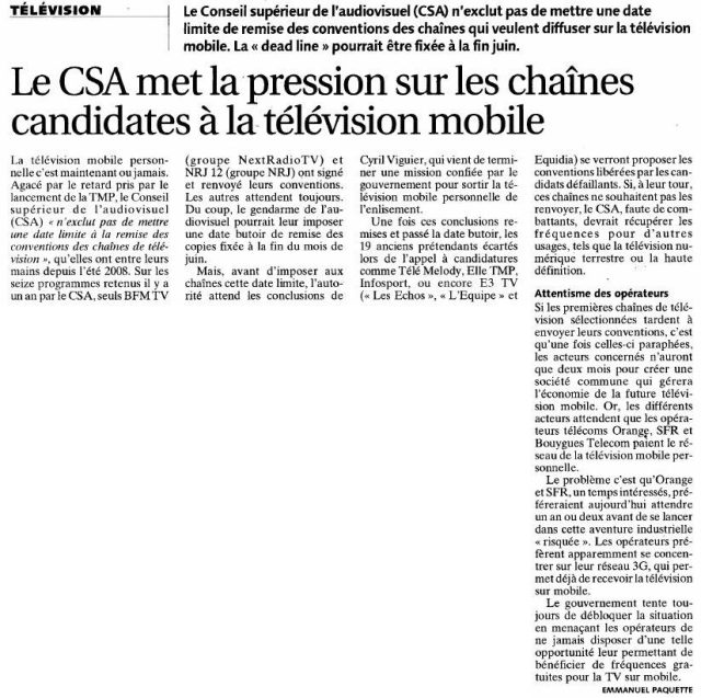 Le CSA met la pression sur les chaînes candidates à la télévision mobile