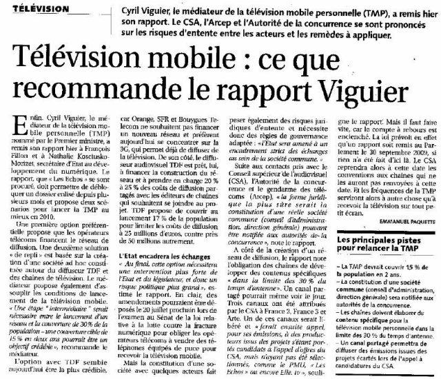 Télévision mobile : Ce que recommande le rapport Viguier