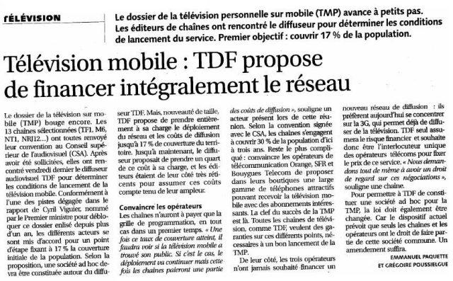 Télévision mobile : TDF propose de financer intégralement le réseau