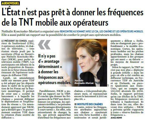 L'État n'est pas prêt à donner les fréquences de la TNT mobile aux opérateurs