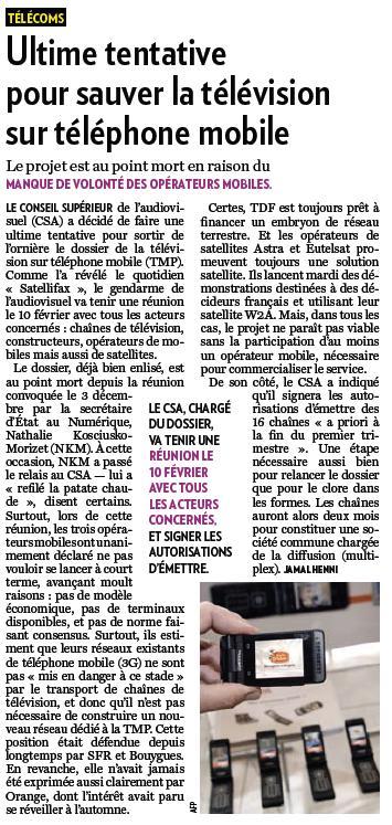 Source : Article « Ultime tentative pour sauver la télévision sur téléphone mobile », extrait du quotidien La Tribune, 1 février 2010.