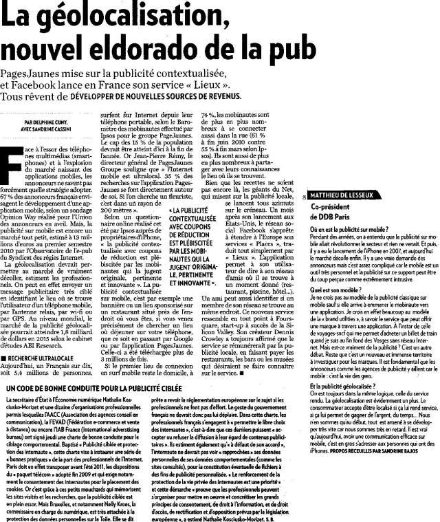 Source : Article « La géolocalisation, nouvel eldorado de la pub », extrait du quotidien La Tribune, 1 octobre 2010.