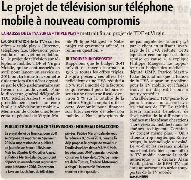 Le projet de télévision sur téléphone mobile à nouveau compromis