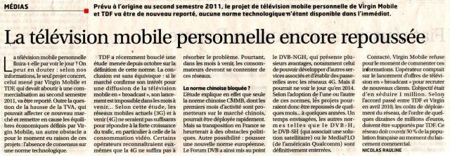 La télévision mobile personnelle encore repoussée
