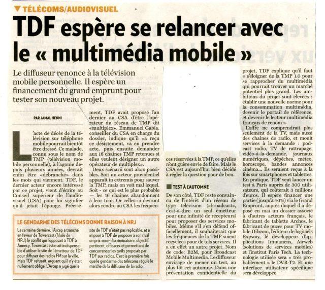 TDF espère se relancer avec le multimédia mobile