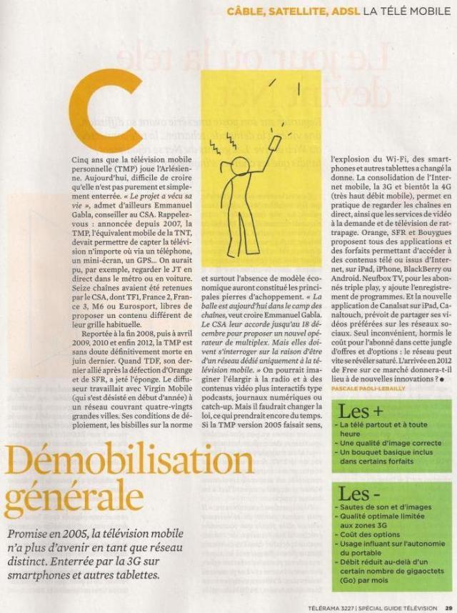 Source : Article « Démobilisation générale », extrait de l'hebdomadaire Télérama, 8 avril 2012.