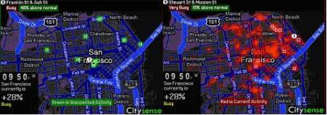 Représentation de l'application Citysense. Cette application préfigure un type d'usage des données spatio-temporelles agrégées. Elle propose une cartographie des activités urbaines basée sur l'activité Wifi des téléphones mobiles et des GPS équipant les taxis, et sur laquelle sont ajoutées des informations concernant les activités culturelles. Cette représentation dynamique donne aux utilisateurs un moyen de connaître et de choisir un endroit où sortir le soir, en repérant les lieux les plus animés.