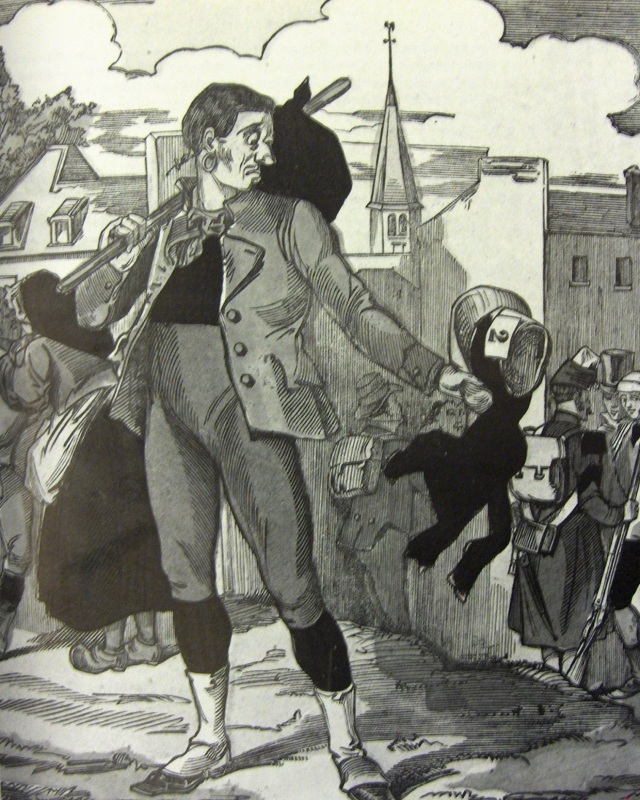 Source : « Le Départ du conscrit », gravure sur bois, imagerie Pellerin, Epinal, Bibliothèque Nationale de France, Paris, France.