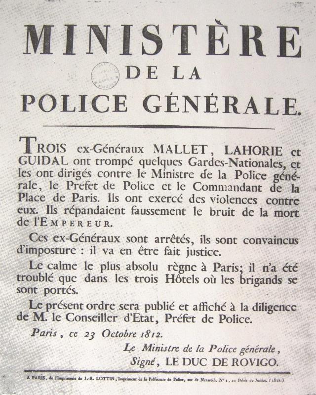 Avis officiel concernant l'affaire Malet apposé sur les murs et reproduits dans les journaux. Il fut imprimé à 12 000 exemplaires par J.-R. Lottin (imprimeur de la préfecture de police), Musée de la préfecture de police, 4 rue de la Montagne Sainte-Geneviève, Paris, France.