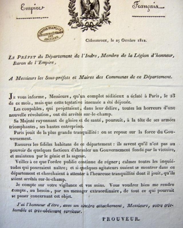Source : Lettre du préfet du département de l'Indre (Gilles Prouveur de Pont de Grouard)  aux sous-préfets et maires des communes, Châteauroux, 25 octobre 1812, F1/cIII/Indre/7, Archives Nationales, Paris, France.