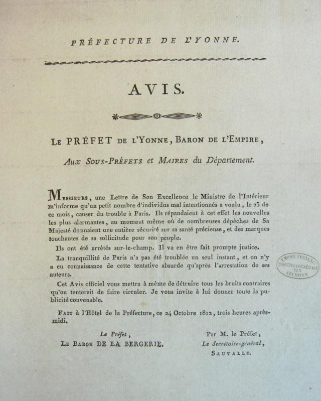 Lettre du préfet du département de l'Yonne (Jean-Baptiste Rougier de la Bergerie) aux sous-préfets et maires des communes, Auxerre, 24 octobre 1812, F1/cIII/Yonne/10, Archives Nationales, Paris, France.