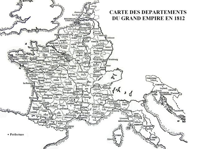 Carte des départements du Grand Empire en 1812