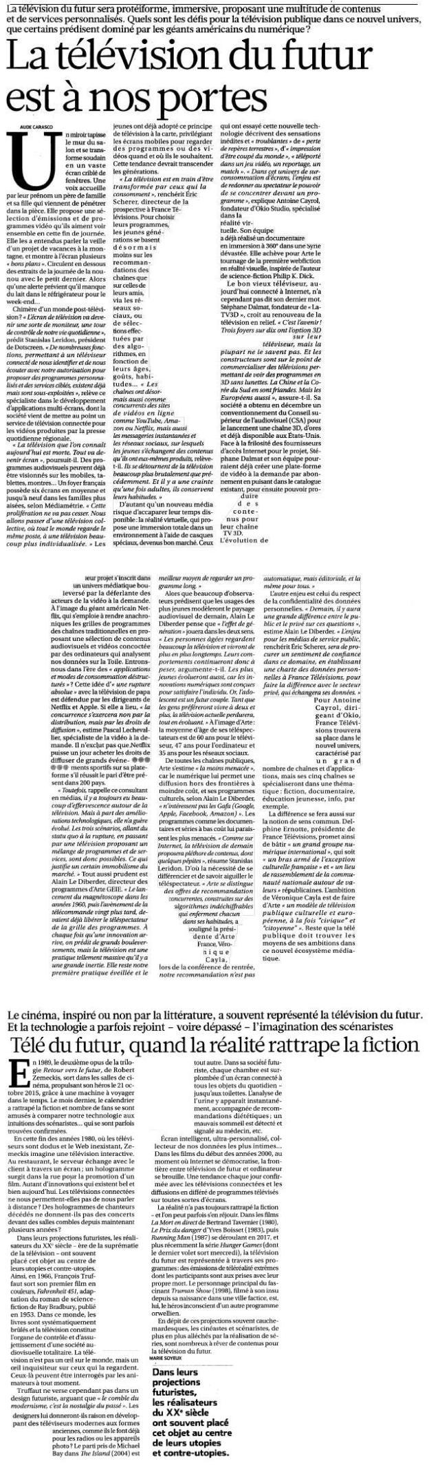 Source : Article « La télévision du futur est à nos portes », extrait du quotidien La Croix, 14 novembre 2015.