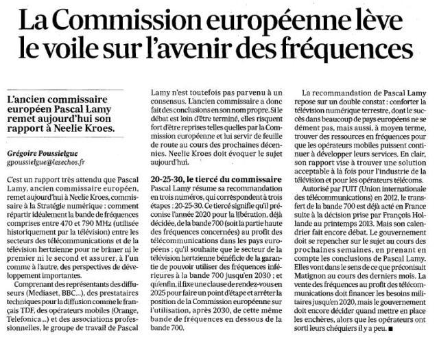 Source : Article « La Commission européenne lève le voile sur l'avenir des fréquences », extrait du quotidien Les échos, 1 septembre 2014.