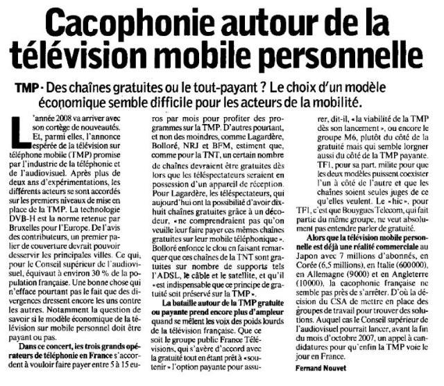 Cacophonie autour de la télévision mobile personnelle
