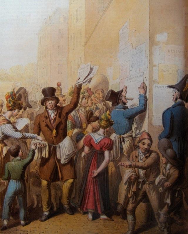 Source : « La lecture des affiches de la rue de Castiglione », planche extraite des Tableaux de Paris sous le Premier Empire, Georg Emmanuel Opitz (1775-1841), peinture à l'aquarelle, 1831, Musée Carnavalet, Paris, France.