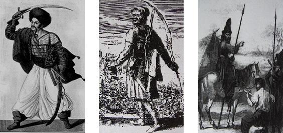 Illustrations de gauche à droite : 1 : Simon Chénard (1758-1832) de l'Opéra-Comique, interprétant le rôle peu important du chef des Tartares, Titsikan, dans « Lodoïska ou les Tartares » de Luigi Cherubini (1760-1842). Comédie en trois actes, représentée à partir de juillet 1791. Source : SIMON Charles, Paris de 1800 à 1900 d'après les estampes et les mémoires du temps, Paris, édition Plon, 1899, tome I, page 269. 2 : Cosaque du Don d'après une estampe française du XVIIe siècle. Source : LEBEDYNSKY Iaroslav, Les Cosaques, une société guerrière entre libertés et pouvoirs – Ukraine, 1490-1790, Paris, édition Errance, 2004, page 6. 3 : Cosaques de l'Oural d'après une gravure française du début du XIXe siècle. Source : LEBEDYNSKY Iaroslav, Les Cosaques, une société guerrière entre libertés et pouvoirs – Ukraine, 1490-1790, Paris, édition Errance, 2004, page 87.